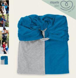 La petite écharpe sans noeud Je porte mon bébé Gris chiné-Bleu canard