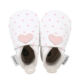 Bobux Soft soles white with blossom hearts print